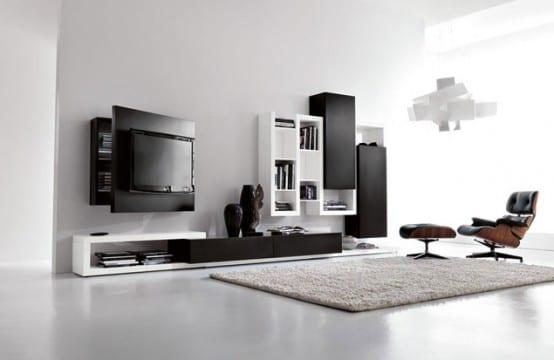 wohnwand design in schwarz weiß mit wandregalen und tv Wandpanel