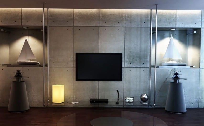minimalistisches Interior und wandgestaltung mit sichtbetonpaletten und Metallregalsystem