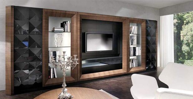 wohnzimmer inspiration für moderne winrichtung mit Wohnwand in schwarz und holz