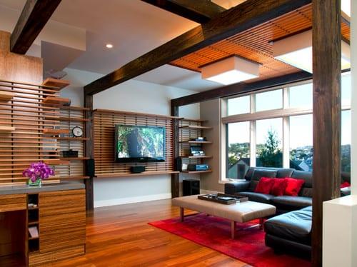 modernes Wohnzimmer einrichten und coole wandgestaltung und deckengestaltung mit holzlatten