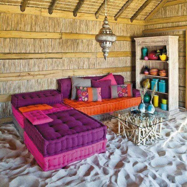 lila und orange bodenkissen für marokkanische stilrichtung