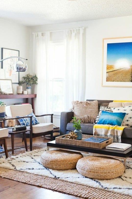 runde rattan bodenkissen als wohnzimmer deko