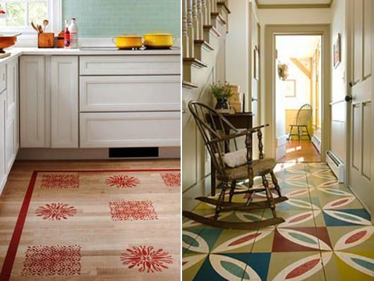 bodengestaltung mit muster streichen idee in rot und grün als raumgestaltungsidee für Küche und flur