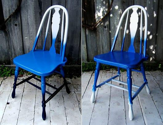 alte möbel streichen-idee in blau und weiß für moderne esstischstühle aus holz