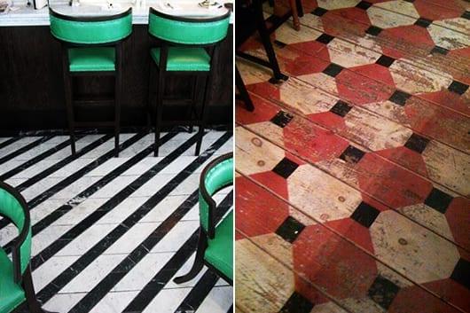 holzbodenbelag in schwarz-weiß und in rot und schwarz als kreative Boden-streichen ideen
