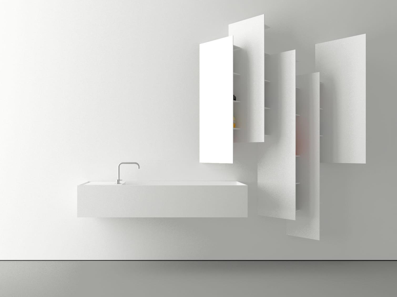 kreative wandgestaltung badezimmer mit weißen badezimmerregalen von boffi