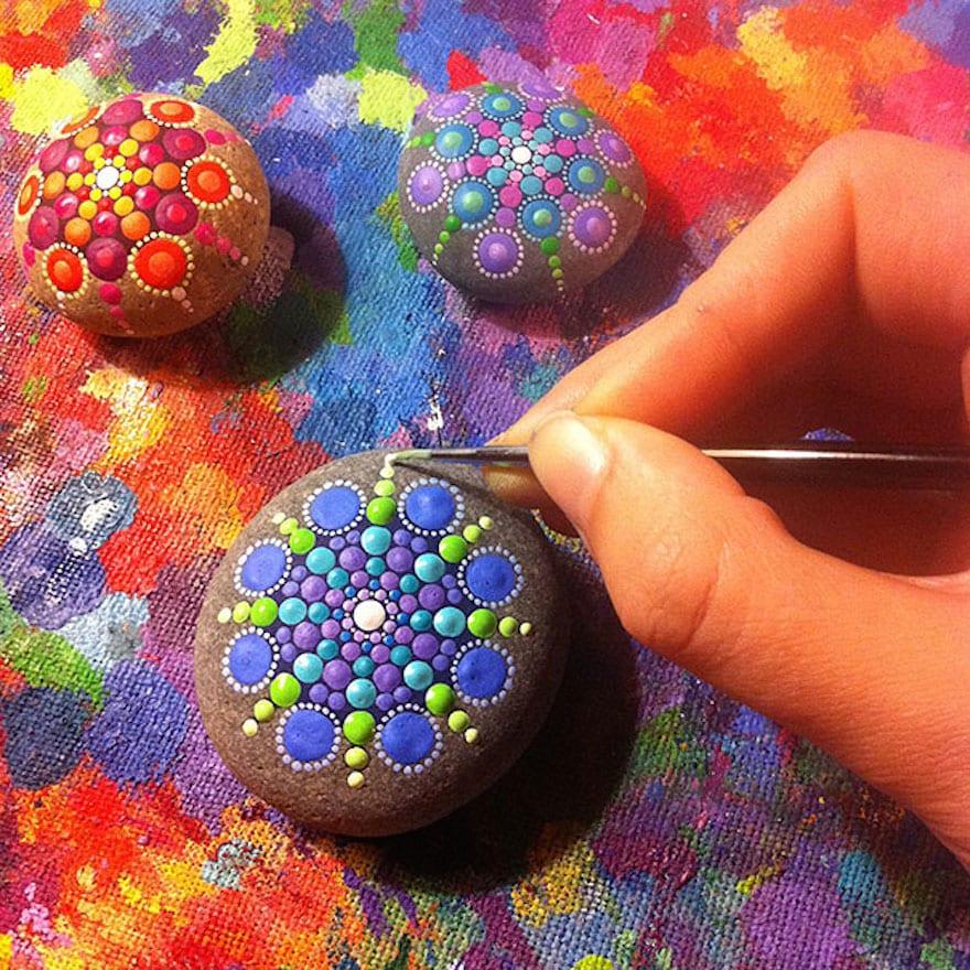 coole bastelidee für DIY Deko mit Flüßsteinen