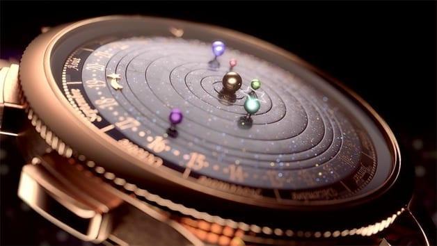 männer Armbanduhr-modell mit Zifferblatt solarsystem in schwarz und gold