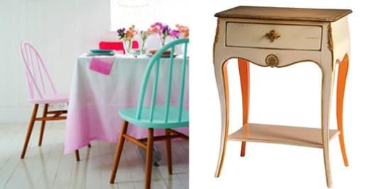 möbel streichen in hellrosa und in weiß und orange_streichen idee für holzstühle und beistelltische