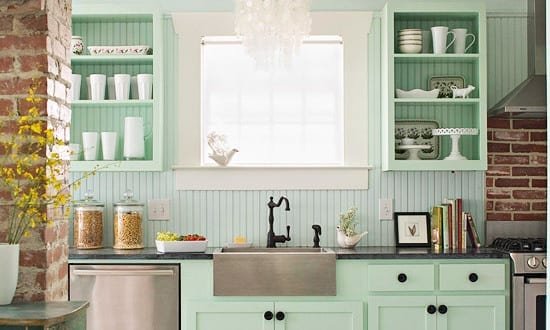 Interessante kuchenidee fur vintage kuche in hellgrun und for Küche hellgrün