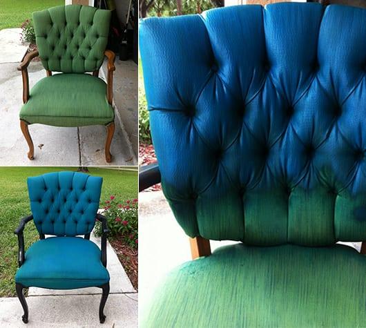 klassische Holzsessel mit grünem Damst in blau streichen als idee zum möbel streichen