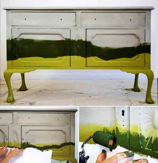 möbel streichen für eine moderne Zimmergestaltung mit rustikalem Holzschrank in grün