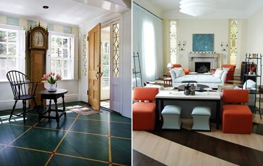 holzboden in grün und gelb und wohnzimmer einrichtung mit seats und sofas in orange als akzent zu dem holzboden mit streifenmuster