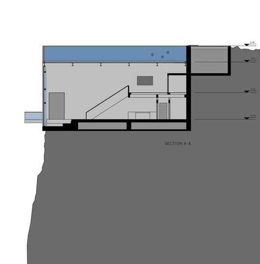 schnitt durch das Betonbau casa brutale