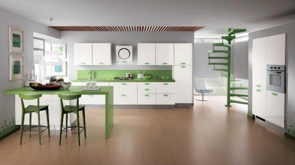 küchenidee für weiße küche mit bar und barhockern in grün