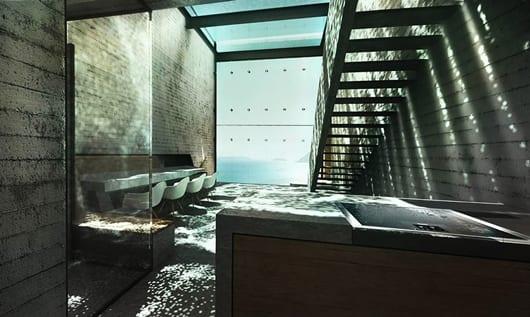modernes Haus aus beton mit Interior design modern und Raumbeleuchtung Idee