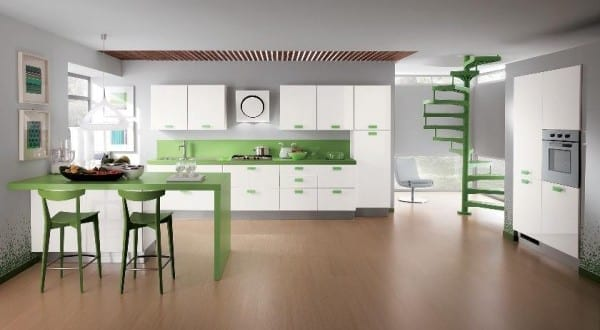 Schön Luxus Küche Design In Weiß Und Grün Von Scavolini