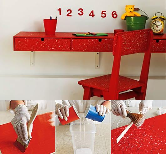 Schreibtisch mit schubladen selber bauen und in rot streichen_coole kinderzimmer Idee