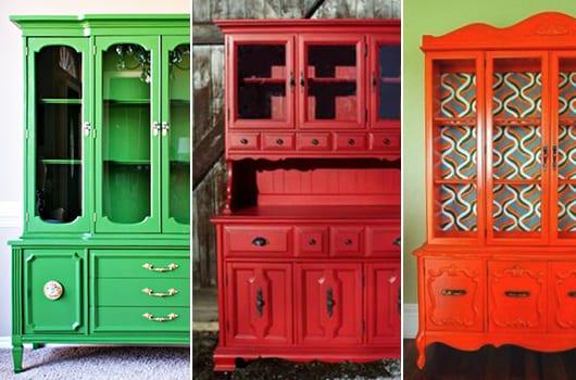 streichen sie alte möbel in verschiedenen farben für coole farbgestaltung im wohnzimmer und in der küche