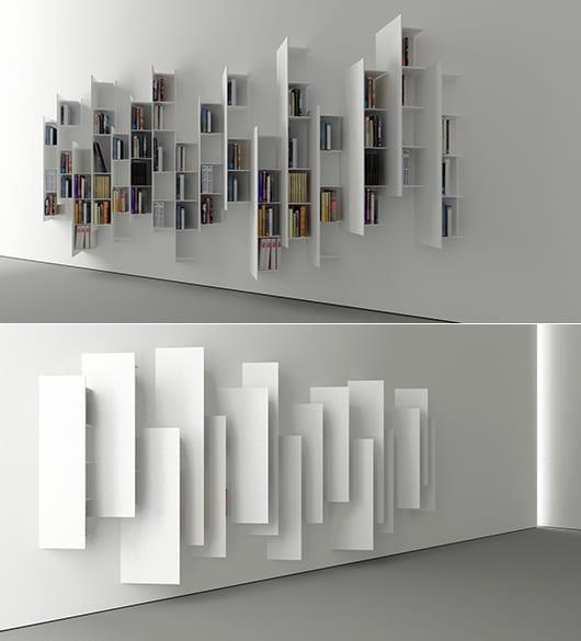 interessante Wanddekoration mit weißen stilvollen Hochregalen ctline