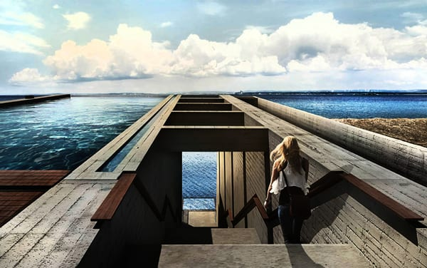 moderne Residenz und Traumhaus am meer aus Beton mit Außentreppe und Schwimmbecken auf dem dach