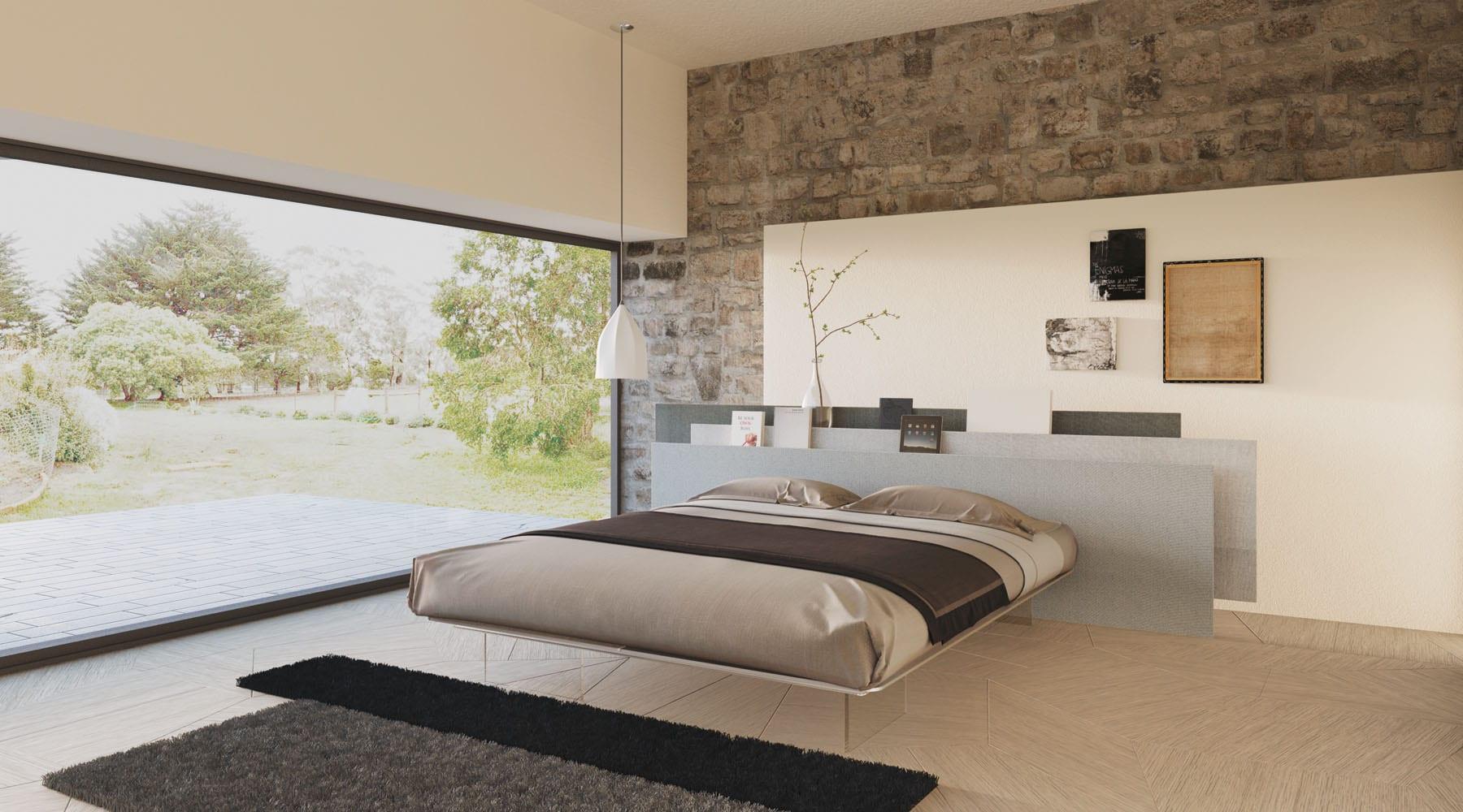 Graues bett wandfarbe die neuesten innenarchitekturideen for Esstischstuhle modern