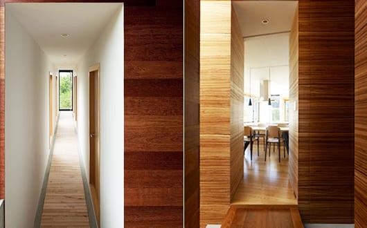 moderne flurgestaltung mit holzverkleidung les. Black Bedroom Furniture Sets. Home Design Ideas