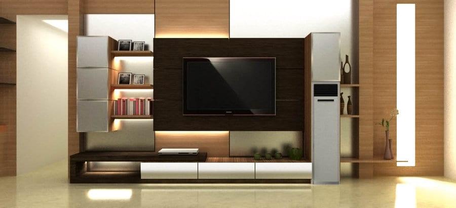 elegante Einrichtung wohnzimmer mit wohnwand und tv wandpaneel