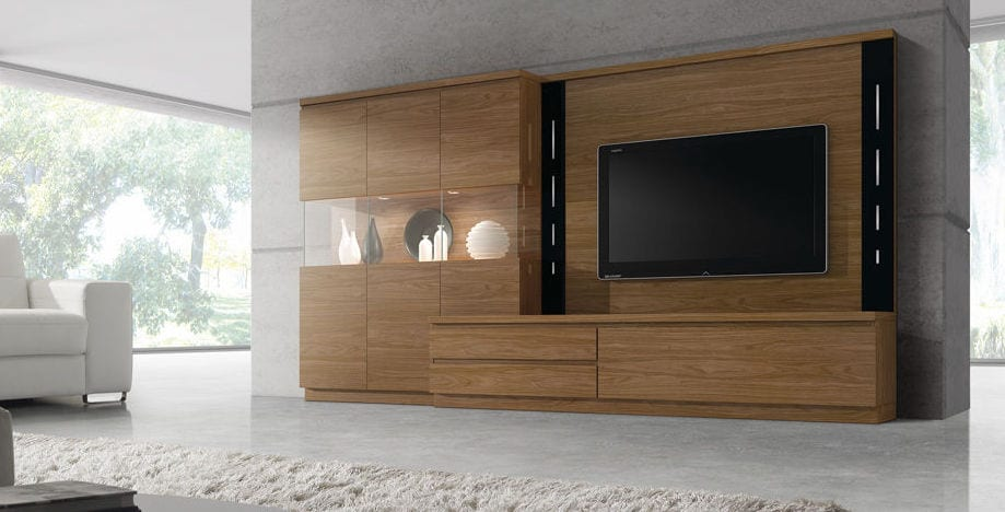moderne wohnzimmer einrichtung mit wohnwand holz und polstersessel weiß und luxus interieur beton