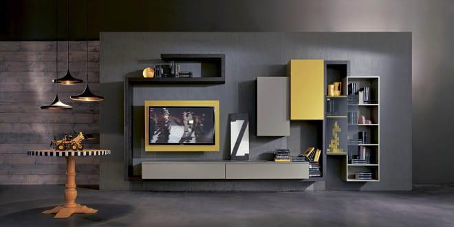 moderne Wohnyimmer einrichtung mit TV Wandpaneel in grau ...