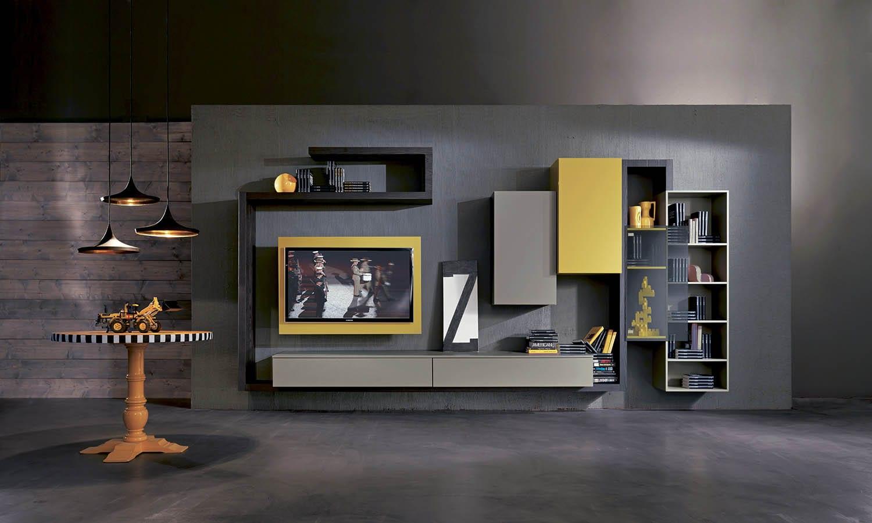 wohnzimmer interior design mit wandfarbe grau und moderne wandregalen grau und gelb