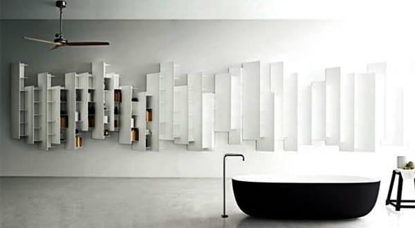 moderne badezimmer einrichtung mit wandregalen badezimmer stline von boffi freshouse. Black Bedroom Furniture Sets. Home Design Ideas