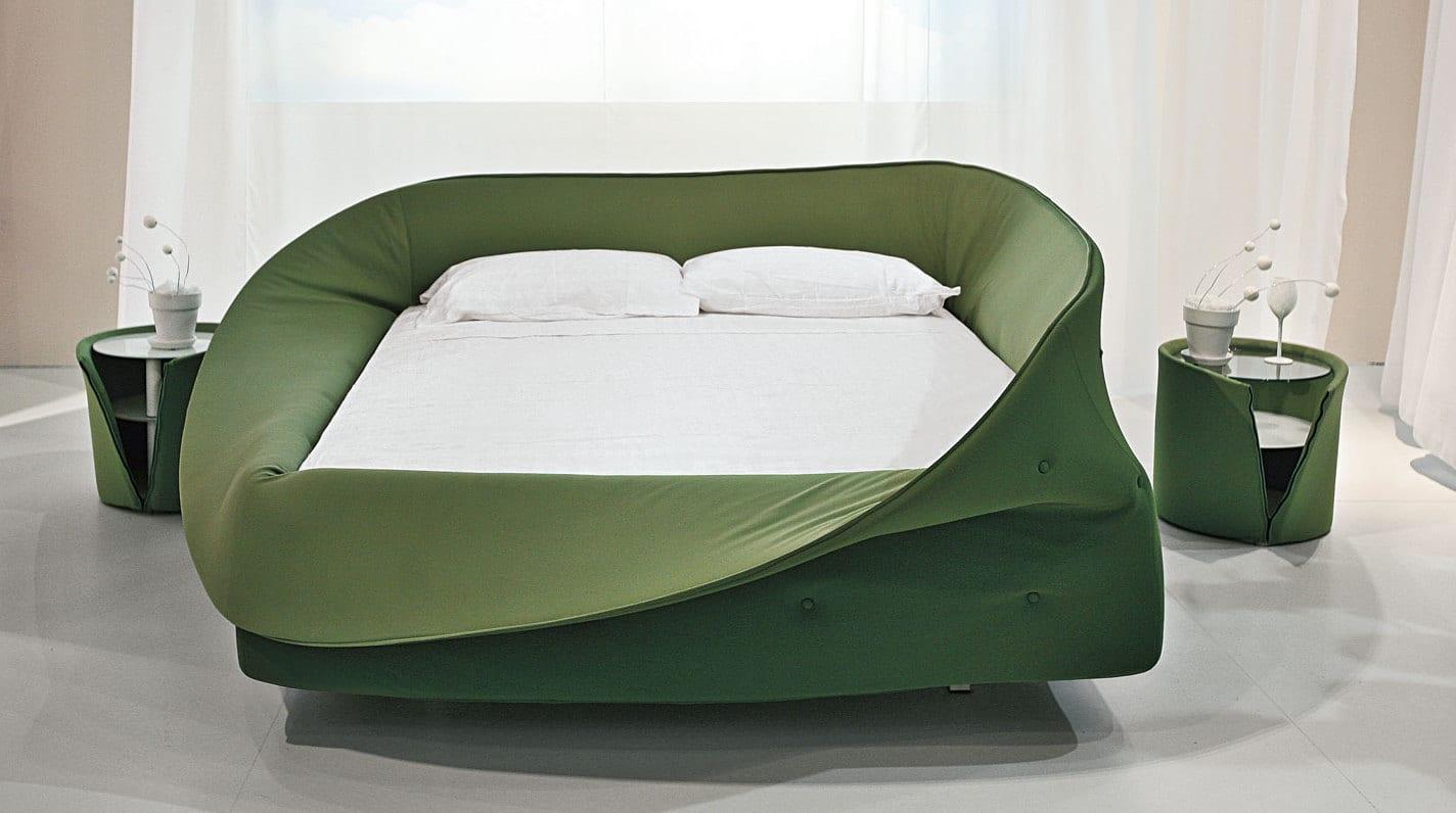 schlafzimmer inspiration für modernes Bett und runde nachttische in grün