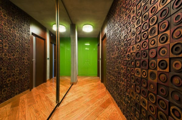 modernes interieur design und raumgestaltung mit holzboden und 3D holzpaneelen