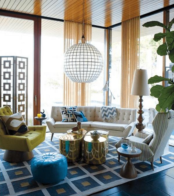 kreative einrichtung mit seats and sofas in weiß unf grün und moderner teppich weiß unf blau