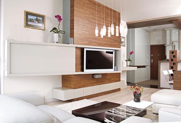 kleines wohnzimmer idee für moderne einrichtung mit TV Wandpaneel  holz mit schibbarem paneel weiß