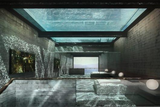 luxus schlafzimmer interior aus beton und moderne Schlafzimmer gestaltung mit spiegel und Pool über dem bett