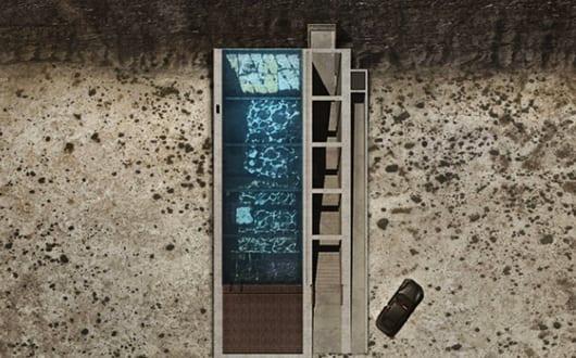 Modernes betonhaus mit dachpool draufsicht von residenz for Modernes betonhaus