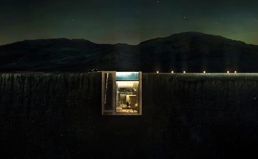 modernes Haus aus Beton mit glasfassade und Pool auf dem im Erde eingegraben und