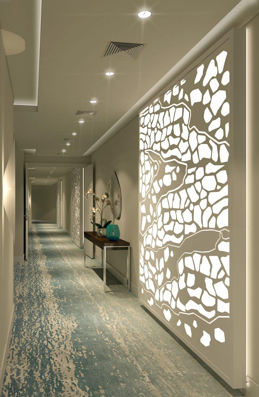 wohnideen flur für moderne Raumgestaltung in weiß mit Traumteppich in blau und weiß und kreative Lichtgestaltung als wanddekoration