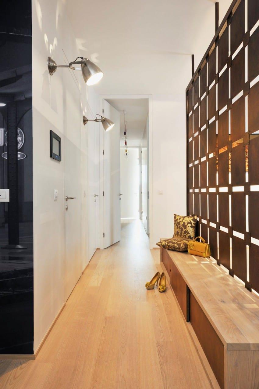 coole raumgestaltung für kleine wohnungen mit Schuhschrank und dekorativem paneel als raumtrennung vom flur und wohnzimmer