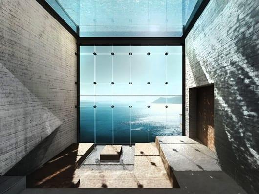 coole wohnideen mit wassergestaltung für modernes interior mit sichtbetonwänden und holzboden