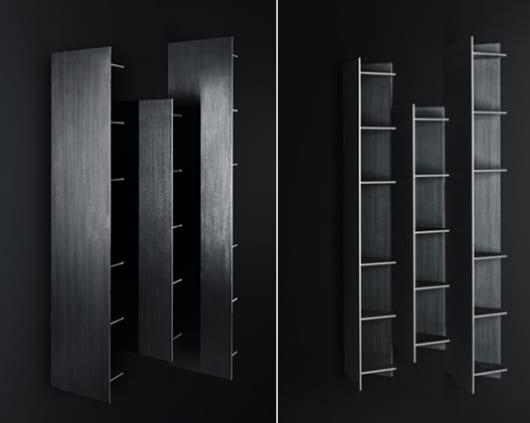 luxus interieur design in schwarz mit den modernen hochwandregalen von boffi