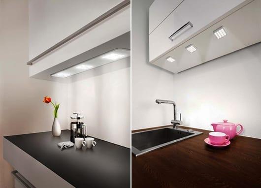 moderne küchenkonzept mit eingebauter Beleuchtung für mehr licht an der küchenarbeitstheke