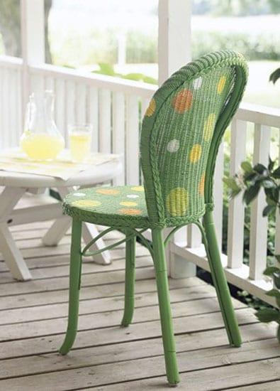 coole gartenmöbel aus rattan streichen in grün