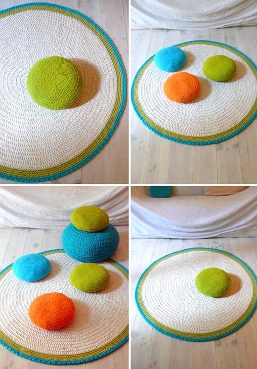 frische farbgestaltungsidee mit bunten bodenkissen und teppich rund