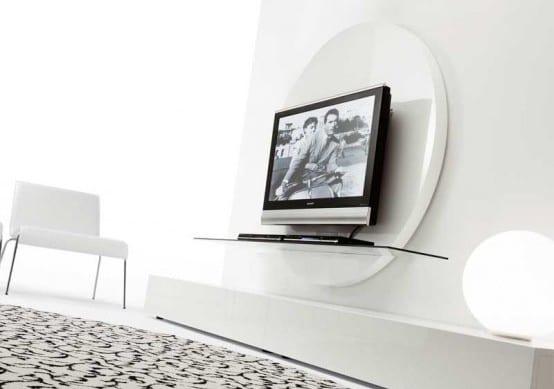 minimalistische wohneinrichtung in weiß mit sideboard weiß und teppich weiß-schwarz