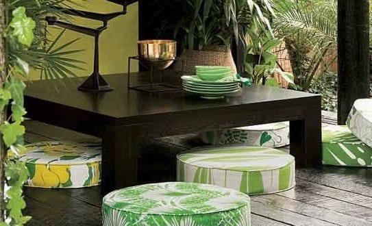 runde bodenkissen gr n f r coole terrassengestaltung. Black Bedroom Furniture Sets. Home Design Ideas