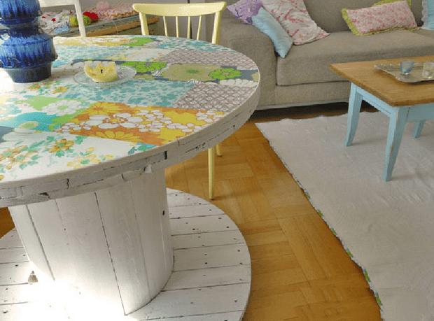 DIY Esstisch massiv in weiß streichen und mit textil dekorieren