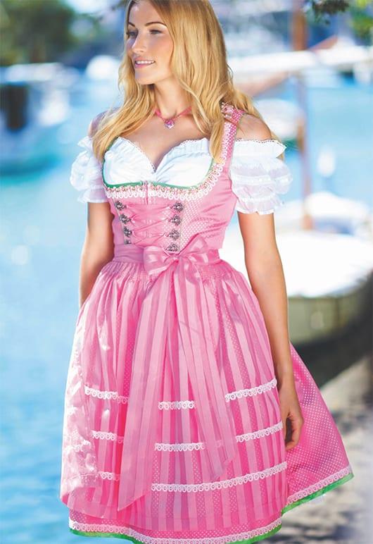 schicke knielange Dirndl für oktoberfest 2015 in rosafarbe